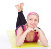 Woman resting after fitness exercises Royalty Free Stock Photo