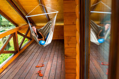 Woman resting in hammock Stock Photos