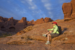 Woman Resting on Hike Stock Photo