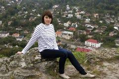 Woman hiker mountain peak Royalty Free Stock Photo