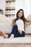 Woman resting at home Stock Photos