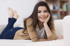 Woman resting at home Royalty Free Stock Images