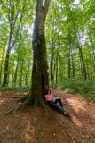 Woman resting after a long hike. Hiker woman resting against a big tree in the forest Royalty Free Stock Photography
