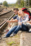 Woman resting on man's shoulder backpack travel Royalty Free Stock Photography