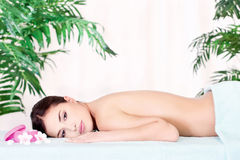 Woman resting after massage Royalty Free Stock Photo