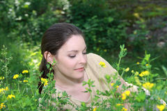 Woman resting in nature Royalty Free Stock Photo
