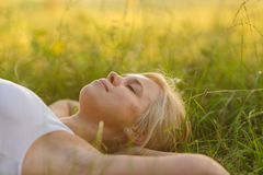 Woman resting in the park Royalty Free Stock Images