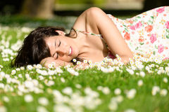 Woman resting and relaxing on nature Royalty Free Stock Photo