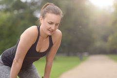 Woman Resting After their Outdoor Exercise Stock Photos