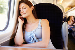 Woman Resting On Train Journey Stock Photography