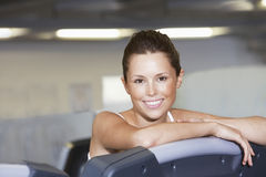 Woman Resting On Treadmill At Health Club Stock Photos