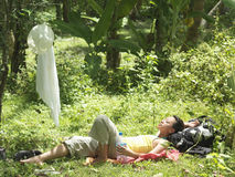 Woman Resting In Tropical Forest Royalty Free Stock Photography