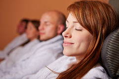Woman resting after wellness Royalty Free Stock Images