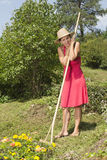 Woman resting whilst raking Royalty Free Stock Photo