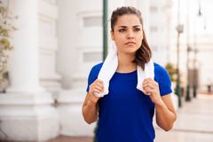 Woman resting after working out Royalty Free Stock Photography