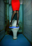 Woman in restroom. Woman in the blue restroom. Fashion photo stock image