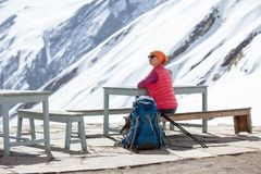 Woman rests in Annapurna base camp, Nepal.  Royalty Free Stock Photography
