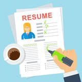 Woman resume writing Stock Image
