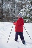 Woman retirement age, europeans, skiing Royalty Free Stock Photo