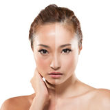 Woman before and after retouch Royalty Free Stock Image