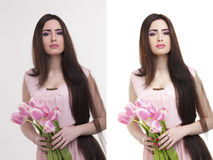 Woman,  before and after retouch Stock Photo