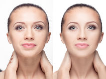 Woman,  before and after retouch Royalty Free Stock Image