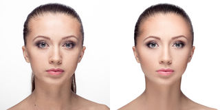 Woman,  before and after retouch Stock Image