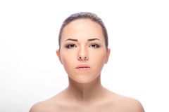 Woman,  before and after retouch Stock Photography