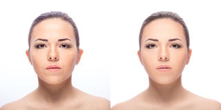 Woman,  before and after retouch Royalty Free Stock Photography