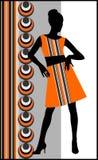 Woman retro. Beautiful Woman, with stylized retro background Stock Photo