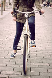 Woman on retro bike Royalty Free Stock Photos