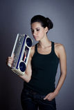 Woman with retro Boom Box Royalty Free Stock Photos