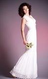 Woman in retro bridal dress Royalty Free Stock Photos