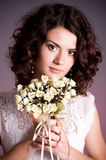 Woman in retro bridal dress Royalty Free Stock Photos