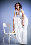 Woman in retro bridal dress Stock Photos
