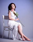 Woman in retro bridal dress Stock Photo