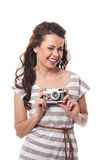 Woman with retro camera Stock Photo