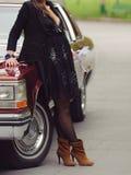 Woman at Retro Car Royalty Free Stock Photos