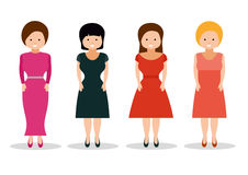 Woman in retro dresses on white background. Isolated vector illustration. Icons collection. Flat style design Stock Photo