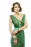 Woman retro fashion portrait in sparkle elegant sequin dress Royalty Free Stock Photo