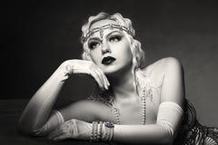 Woman retro flapper style royalty free stock photo