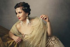 Woman retro flapper style royalty free stock image