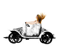 Woman in retro grunge toy car. Stock Photography