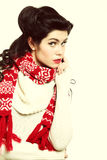 Woman retro hairstyle warm clothing winter fashion Royalty Free Stock Images