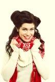 Woman retro hairstyle warm clothing winter fashion Royalty Free Stock Image