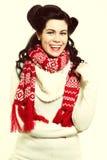 Woman retro hairstyle warm clothing winter fashion Stock Photos