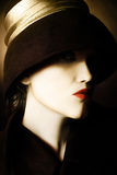 Woman in retro hat. Woman face in black hat. Artistic portrait of beautiful woman in black hat Royalty Free Stock Image
