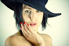 Woman in Retro hat stock photo