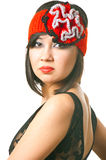 Woman in the retro hat. Portrait of sensuality stylish woman in the retro hat with bright red lips. Shallow DOF Royalty Free Stock Photography