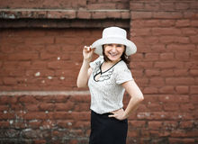 Woman in retro hat Stock Image